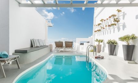 Master Suite mit Privater Pool - Blick auf die Caldera - On The Rocks Santorini - Santorini